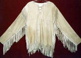 QASTAN Men Native American Mountain Man Buffalo Suede Leather Fringe Shirt FJ139 - $99.00 - $119.00