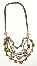 Vanessa Mooney Poppystack Necklace BOHO Multi Tier Strand Multicolor Beads image 3