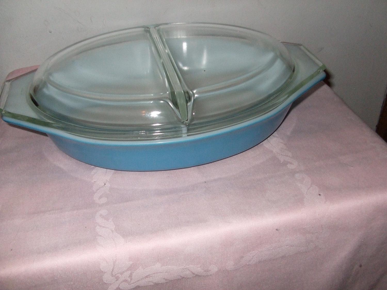 Vintage Pyrex Divided Casserole Dish--1 QT