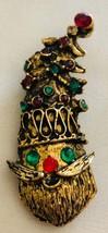 Vintage Gold Tone and Rhinestones Santa Clause Brooch - $12.00