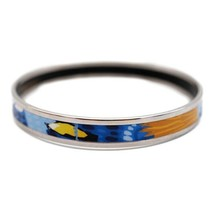 Hermes enamel PM bangle bird Silver Blue Yellow Multi-Color Auth - $495.85