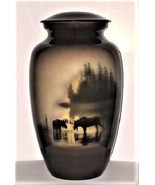 Small/Keepsake 3 Cubic Inch Moose in Meadow Aluminum Cremation Urn for A... - $59.99