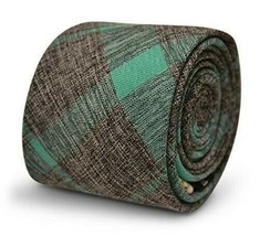 Frederick Thomas Designer Cotton Mens Tie - Dark Grey & Mint Green - Che... - $15.79