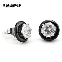 New Ceramic Round Stud Earring Earring Necklace With AAA CZ Fashion Black White  - $23.01