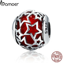 BAMOER 925 Sterling Silver Abstract Silver Star Charm Fit Bracelet and N... - $37.74