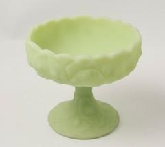 Fenton Lime Custard Satin Glass Pedestal Compote Lily Pad Pattern - $26.17
