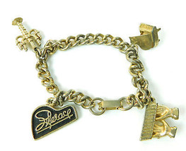 Vintage Liberace Gold tone Metal candelabra piano Small Charm Bracelet - $26.68