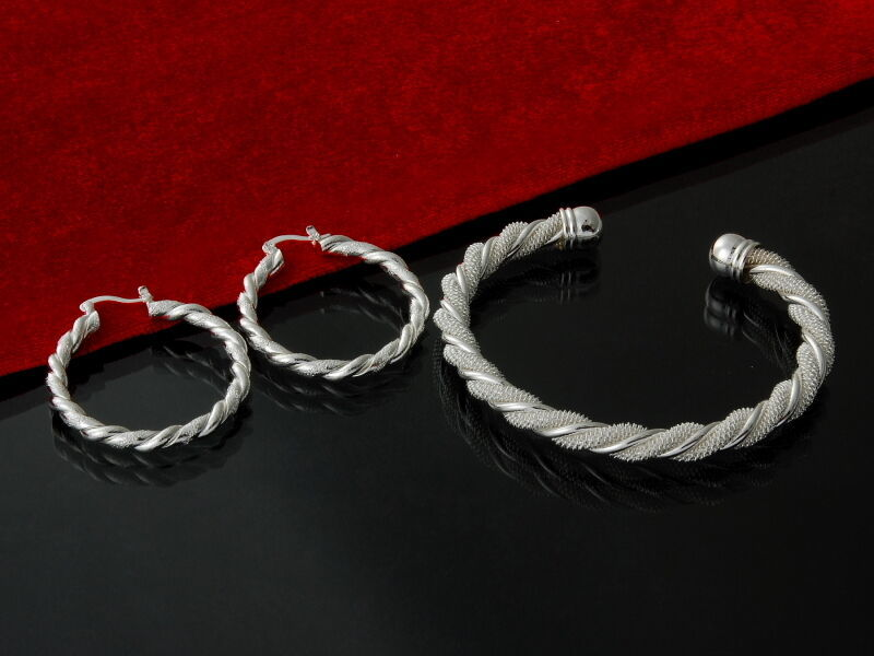Primary image for Twisted Rope Bangle Bracelet and Earrings Set 925 Sterling Silver NEW