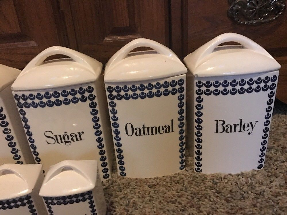 13 Pc Germany Canisters Spice Jars Vinegar Oil Porcelain Lusterware #413 Mignon