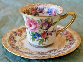 Antique Rosenthal Ivory Demitasse Cup Saucer Vienna US Patent 72658 Rose... - $44.32