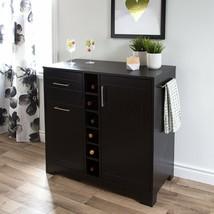 Black Oak Finish Dry Bar Storage Server Wine Rack Wooden Liquor Cabinet ... - $298.88