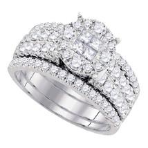 14k White Gold Princess Diamond Bridal Wedding Engagement Ring Set 1-1/2 Ctw - $2,200.00