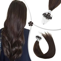 Hetto Micro Rings Hair Silky Straight Remy Hair Extensions #2 Darkest Brown 16In