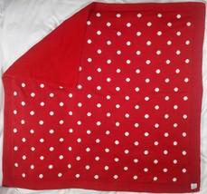 Baby GAP Red White Polka Dot Knit Blanket Fleece Backside HTF 35x37 Unisex Thick - $33.96