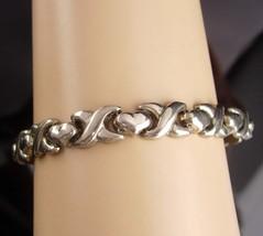 Wide San Marcos Bracelet - Vintage hugs kisses X O -  sterling link brac... - $165.00