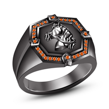 14k Black Gold Finish 925 Silver Round Orange Sapphire Men's SPL Horse Foal Ring - $121.30