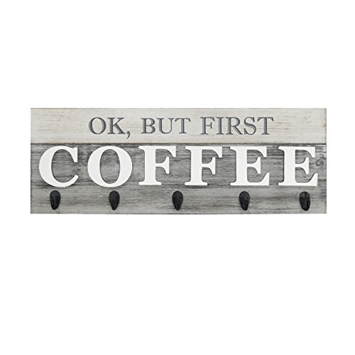 Barnyard Designs 'Ok, But First Coffee' Mug Holder - Rack - Display, Rustic Farm