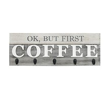 Barnyard Designs 'Ok, But First Coffee' Mug Holder - Rack - Display, Rustic Farm image 1