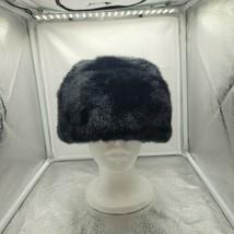 """Russian Cassack Black Faux Mink Fur Winter Hat 24"""" In Diameter - $59.39"""