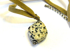 Beige and Black Natural Stone Pendant on a Suede Necklace 1970s boho hippie Vint - $14.99