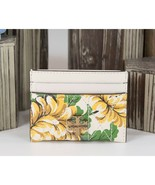 Tory Burch Robinson Yellow Floral Clouds Quilted Leather Card Case Holde... - $128.21