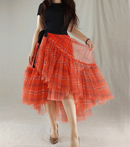 Women High Waist Wrap Tulle Skirts Red Plaid Wrap Skirt Tulle Party Formal Skirt image 8