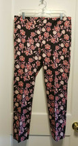 Ann Taylor Black Floral Ankle Pants, Rayon/Cotton Blend, Inseam 28, Size... - $53.99