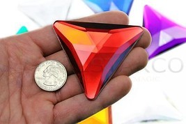 68mm Red Ruby H103 Flat Back Triangle Acrylic Gems High Quality  2 PCS - $8.88