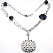 SILVER 925 NECKLACE, AGATE BLUE STRIATA, WITH LOCKET PENDANT, 21 11/16in image 1