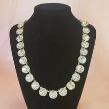 J CREW Clear Rhinestone Crystal Rivoli Venus Flytrap Necklace Chic Gold ... - $29.97