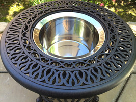 Patio end table cast aluminum Ice bucket insert round Elisabeth side furniture image 2
