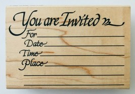 "Invitation Rubber Stamp Stampendous P031 4.25 x 2.75"" You Are Invited 1998 - $7.84"