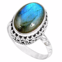 Special Sale, Beautiful Light Blue Labradorite Ring, Size 7.75 US, Handmade - $18.40