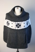 Gap M/L Hand Knit Wool Charcoal Gray Snowflake Pocket Cape Poncho Sweater - $35.47 CAD