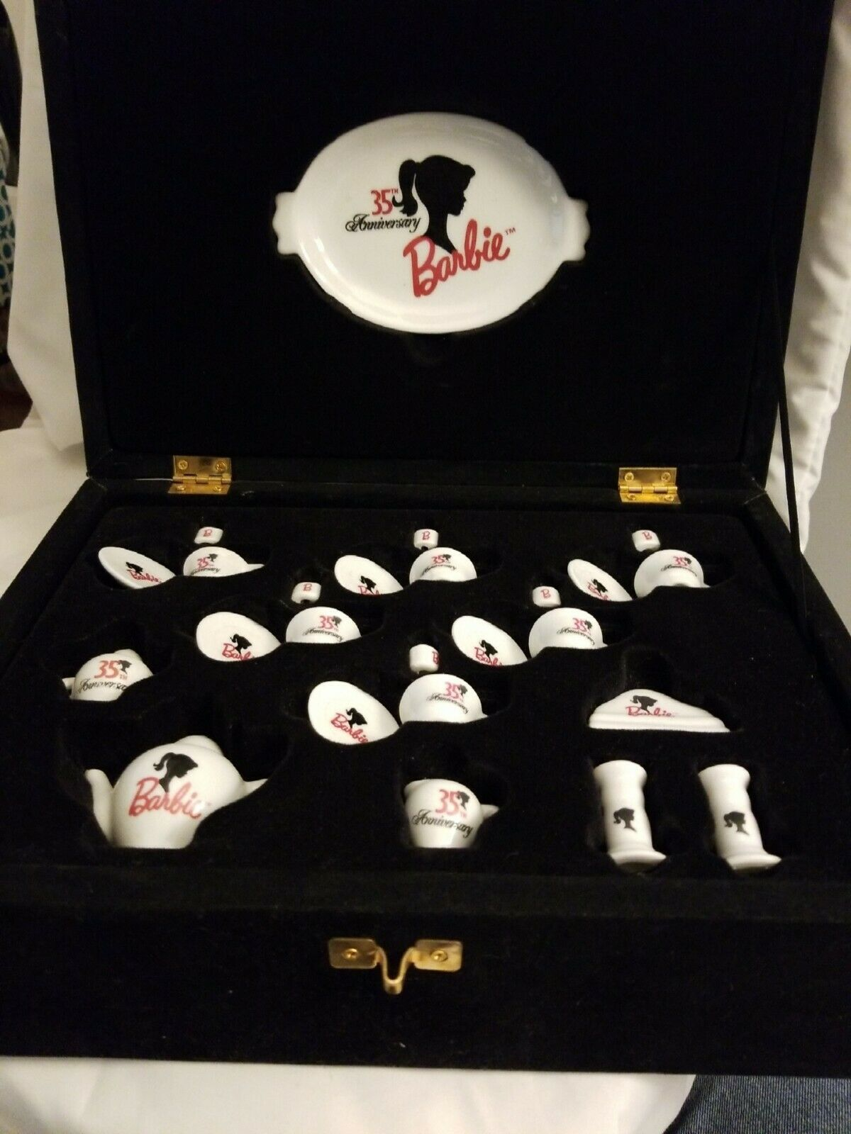 Primary image for Barbie 1964 35th Anniversary Tea Set in Black Velvet Box with Certificate