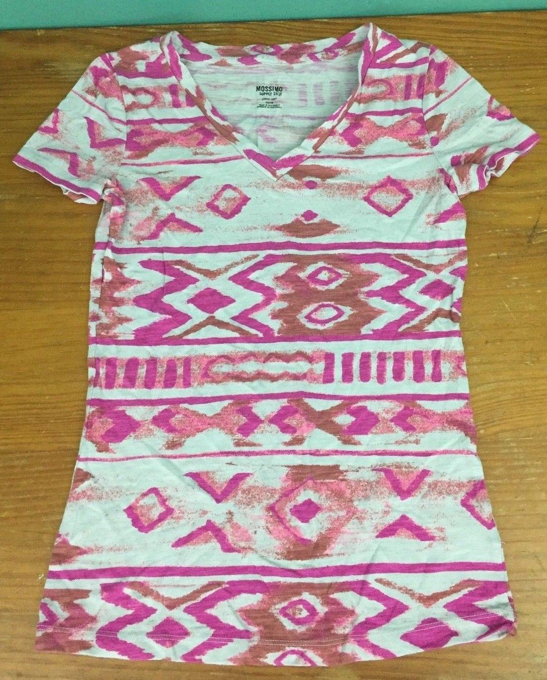 82e9622fd S l1600. S l1600. Previous. Mossimo Women's Southwestern Pattern V-Neck T- Shirt - Size XS - Pink &