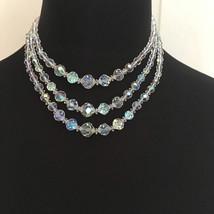 Coro Triple Strand Aurora Borealis Faceted Crystal Bead Necklace Bridal ... - $50.00