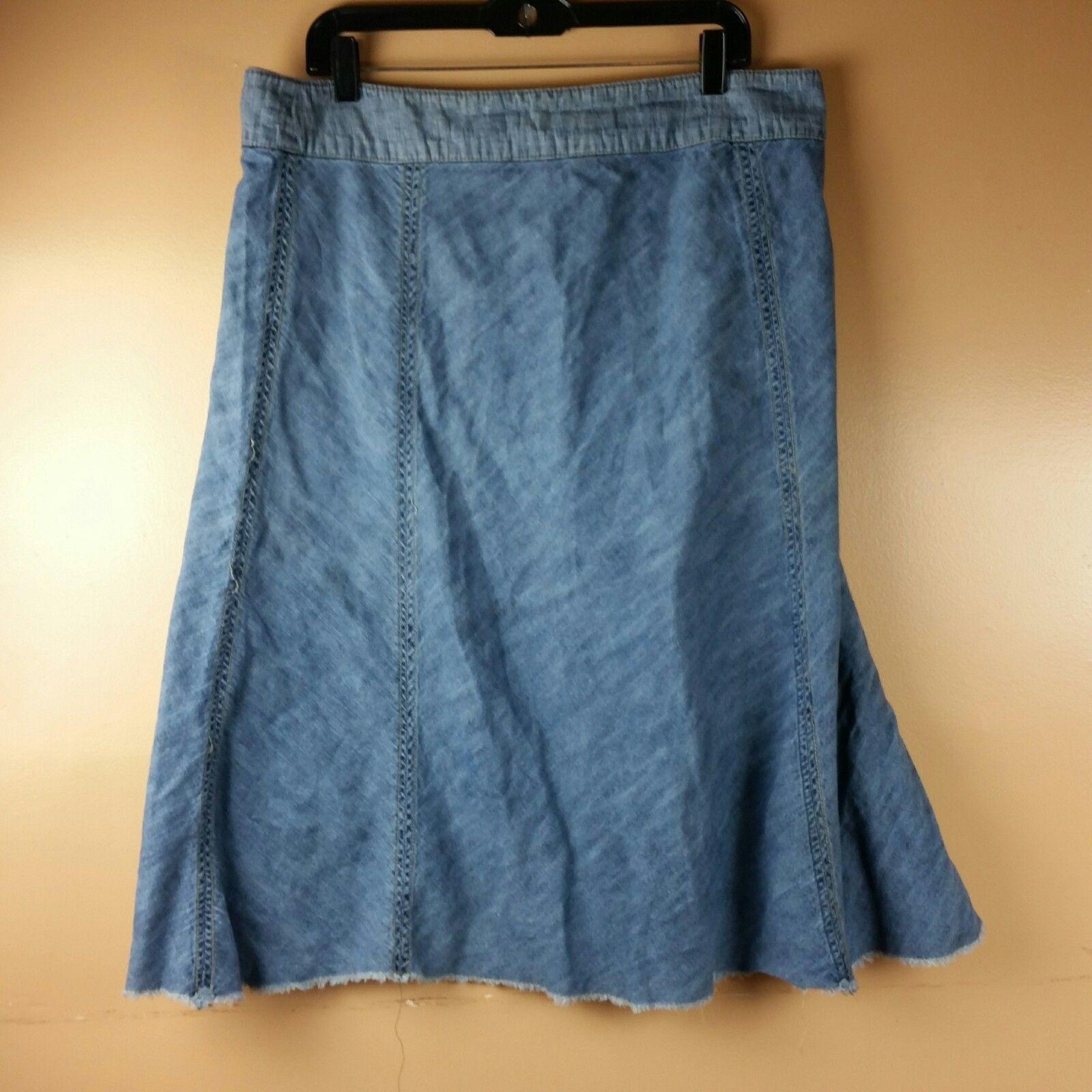 LEE Jean Skirt Womens One True Fit Modest Denim Fringe Hem Size 15/16M