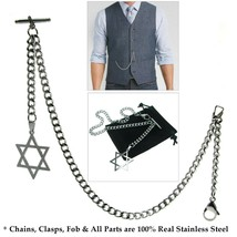 Albert Chain Stainless Steel Pocket Watch Curb Link Chain STAR Fob T-Bar... - $21.49