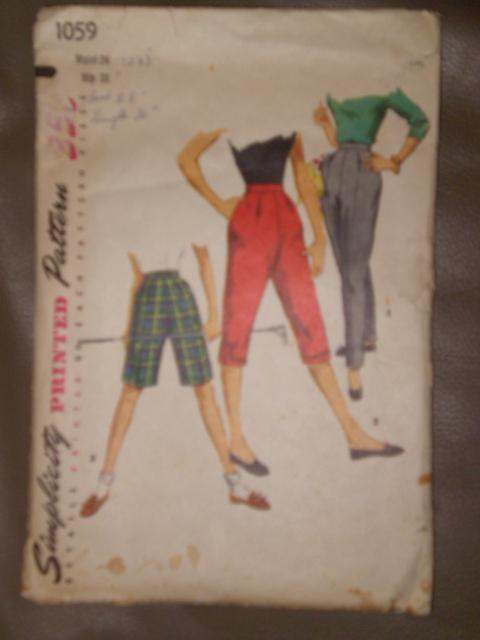 Primary image for 1059 Vintage Simplicity Sewing Pattern Ladies Pants Shorts W24