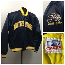 1990s Starter Bomber Jacket / 90s Notre Dame Fighting Irish Button Up Co... - $99.00