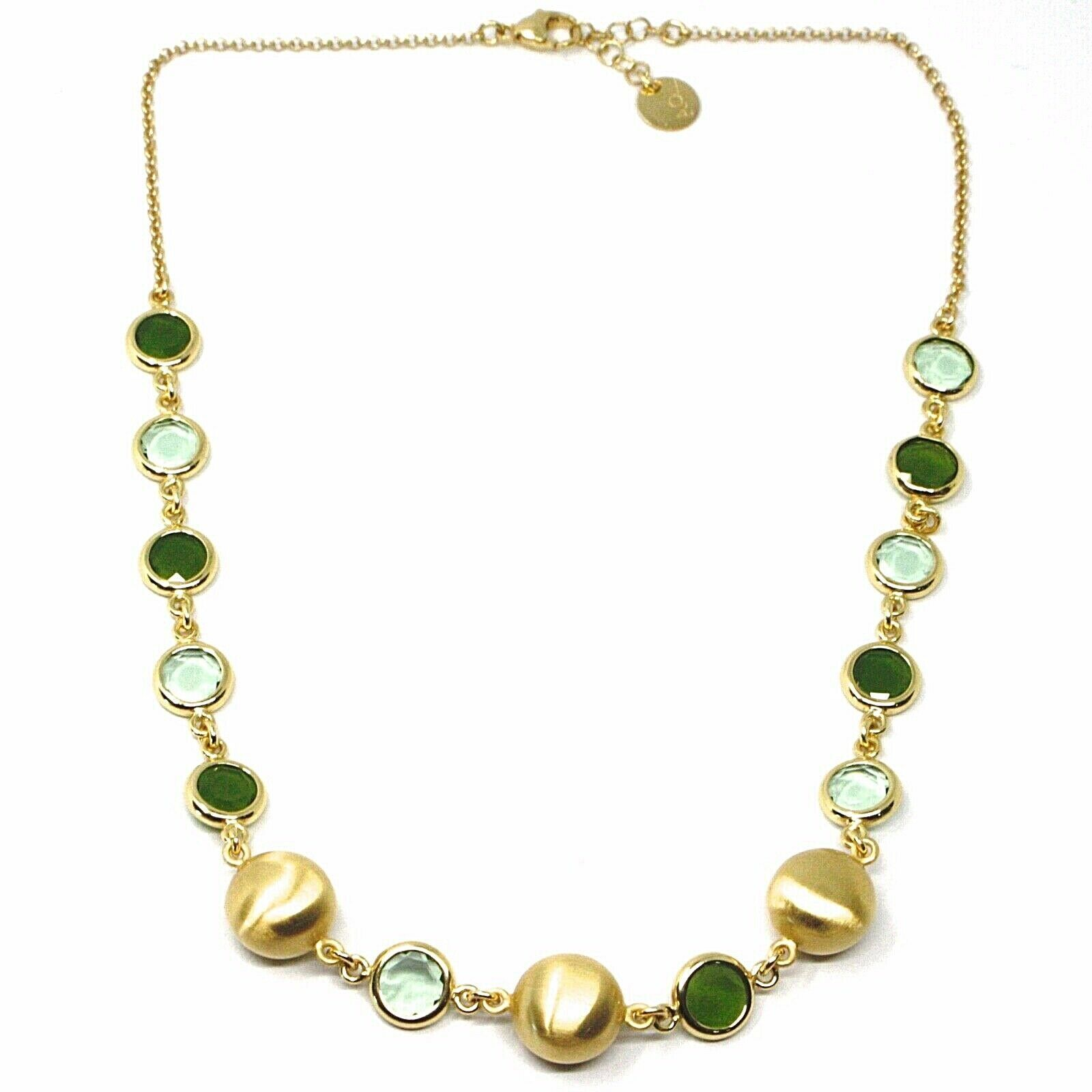 925 STERLING SILVER YELLOW NECKLACE SATIN NUGGETS ALTERNATE GREEN GLASS PASTE