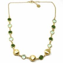 925 STERLING SILVER YELLOW NECKLACE SATIN NUGGETS ALTERNATE GREEN GLASS PASTE image 1
