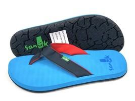 Sanuk Men's LONGITUDE Navy/Ocean/Red Casual Flip Flop Slip On Sandal SMF... - $29.99