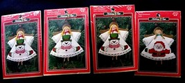 4 Vtg Holiday Time Cross Stitch Craft Ornament Angel Open Arms 3 Snowman... - $21.77