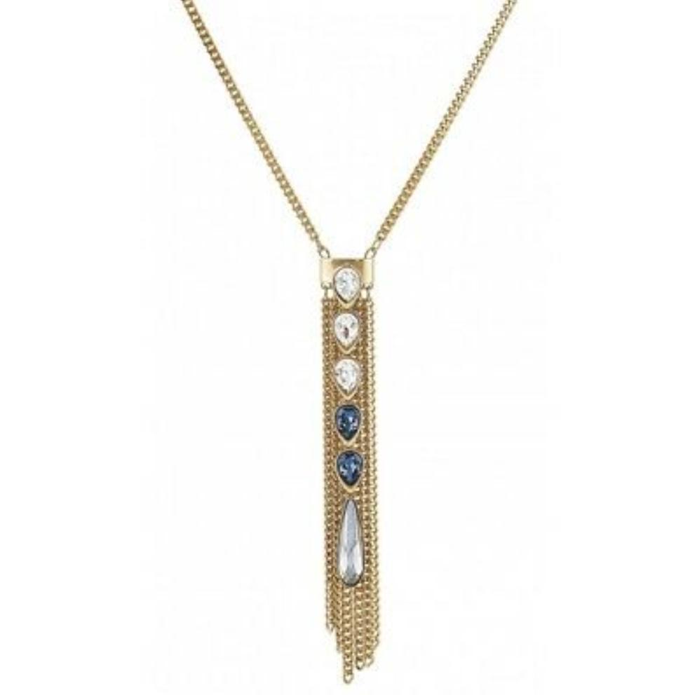 Swarovski Crystal Pendant Necklace Gold Medium Gipsy Fringe 5260597 image 2