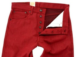NEW LEVI'S 501 MEN'S ORIGINAL FIT STRAIGHT LEG JEANS BUTTON FLY RED 501-1581 image 2