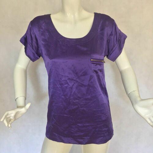 DVF Diane Von Furstenberg Purple top blouse 100% silk size 0 Career work image 2