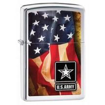 Zippo Lighter: U.S. Army American Flag - High Polish Chrome 28930 - $28.45