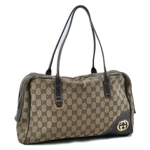 GUCCI GG Canvas Tote Bag Brown Auth yy579 - $130.00